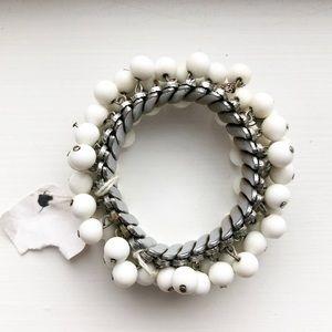 Silver & white dangly bead charm stretch bracelet